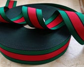 1.5 quot Vintage Stripe Straight Edge woven Millinery Ribbon Trim in beautiful Green and Red, Black grosgrain
