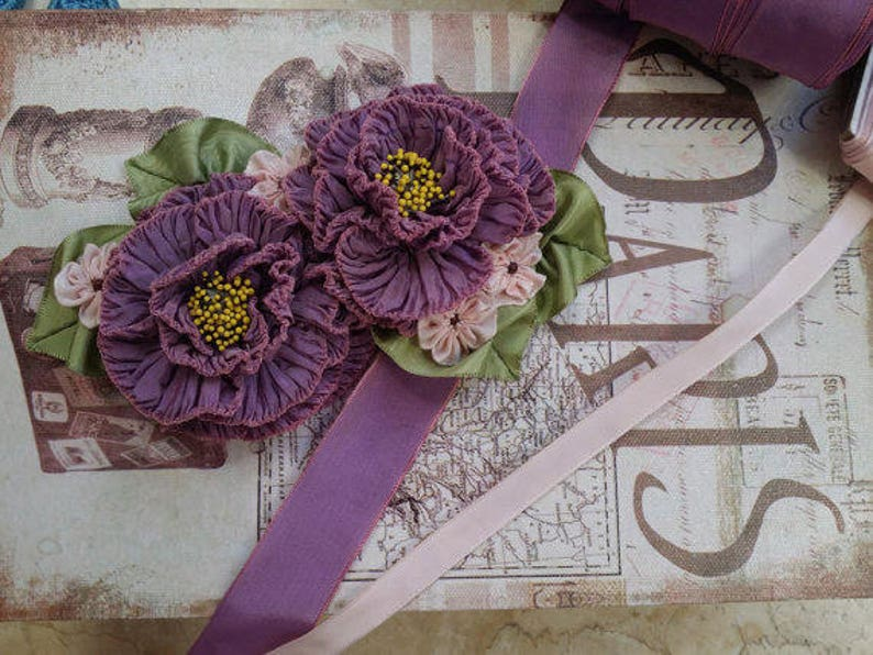 bridal crafts 1 Vintage French Ribbon Trim Rayon Wired Two tone pink copper ribbon flowers Plum floral supplies wedding