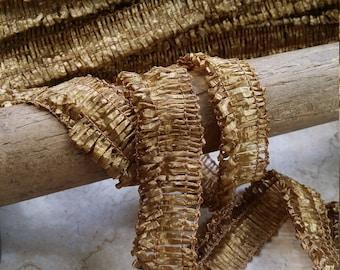"""1"""" Vintage Millinery Braid hat trim gorgeous Antique Gold, hat supplies, reenactment,"""