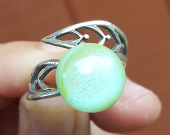 Mint Green Fused Glass Ring