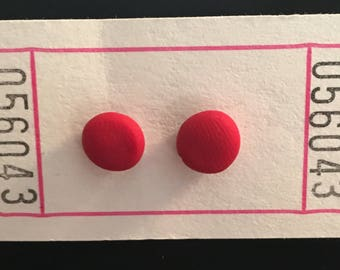 Polymer Clay Bright Red Circle Earrings