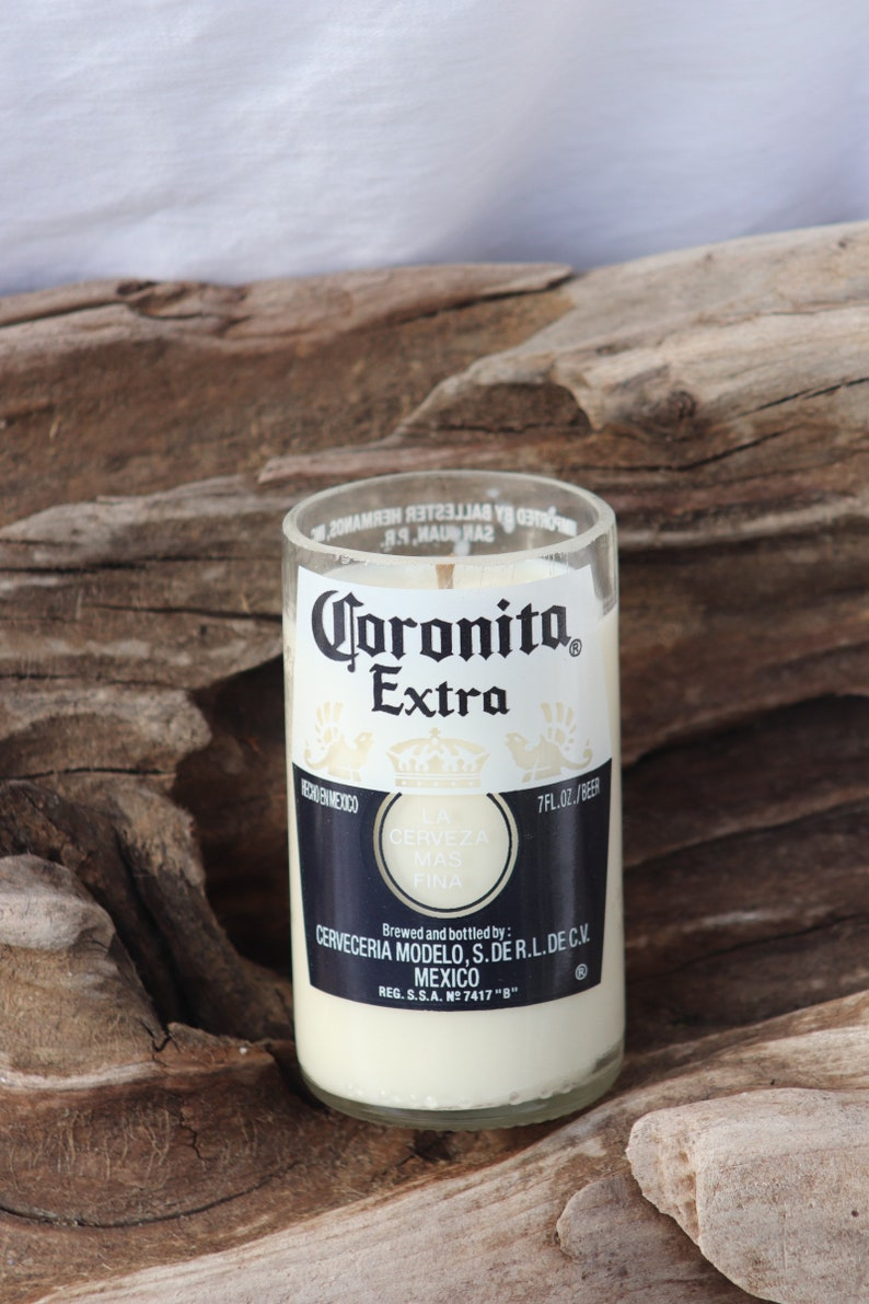 Soy candle in a recycled coronita bottle