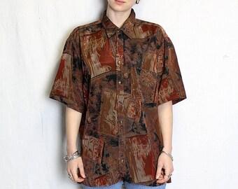 Vintage 90s Brown pattern shirt