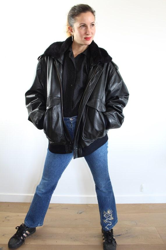Vintage leather blouse faux fur collar