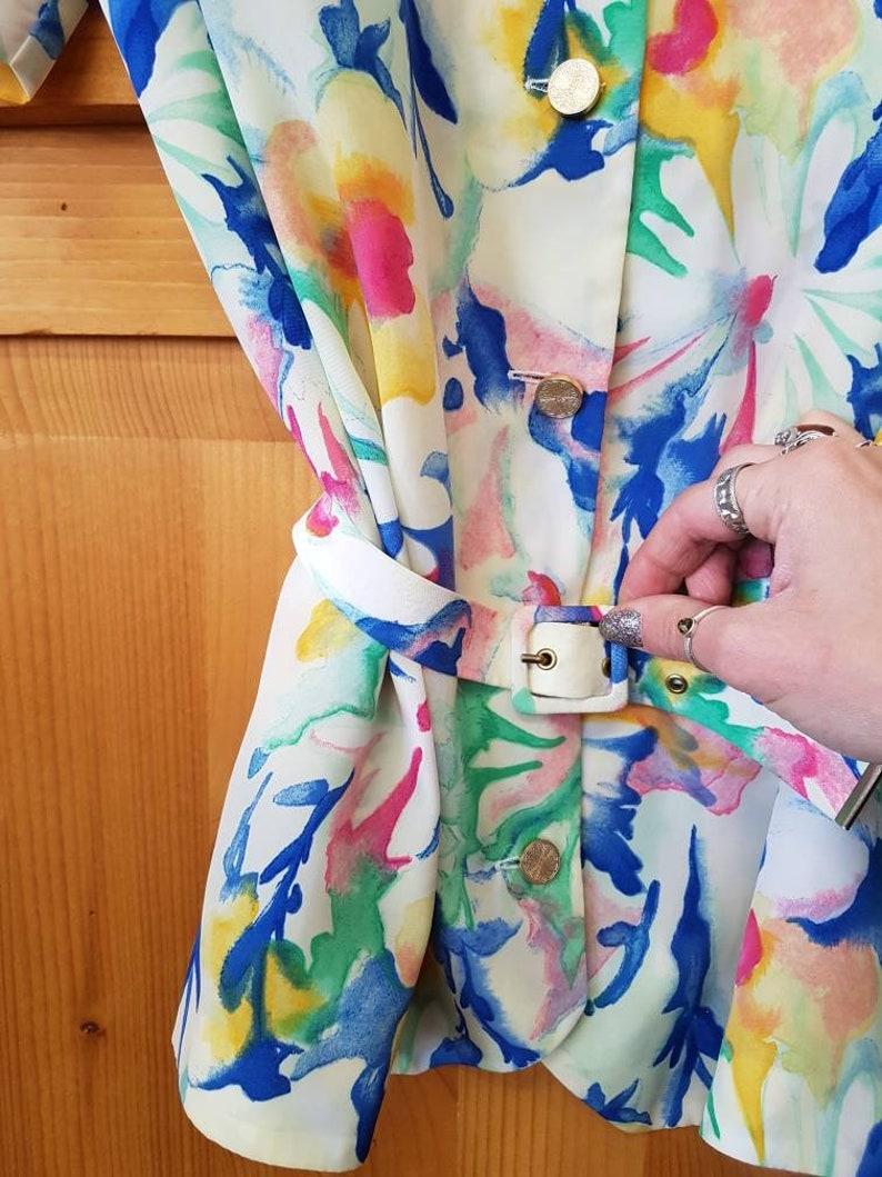 Vintage floral print Multicolor watercolor short sleeve shirt