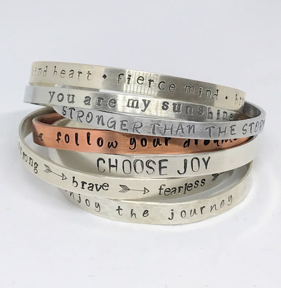 Gift for a friend Inspirational Jewelry Friendship Mantra Quote Custom bracelet Add your message Hand stamped personalized cuff