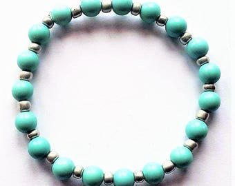 Cyan Blue and Silver Beaded Bracelet - Elasticated