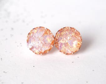 Shimmering Crushed Moonstone Earrings | Stud Earrings | Earrings | Pink Earrings | Sparkly Earrings | Gift for Her | Handmade | Opal
