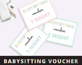 Babysitting voucher, Babysitting gift voucher, Mothers Day Gift, Babysitter voucher, Free Childcare, Free Babysitting,  Printable PDF