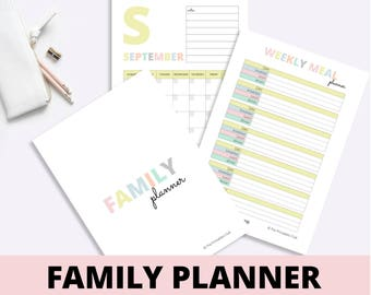 Modern Family Planner, Family Binder, Family Planner, Family Organizer, Mum Binder, Mum Planner, Mum Organizer, 73 Pages Printable PDF