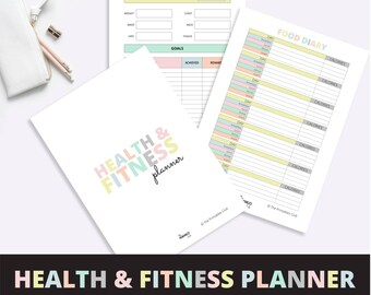 Health and Fitness Planner, Fitness Journal, Health Journal, Fitness Planner, Health Planner, Health and Fitness Printable PDF
