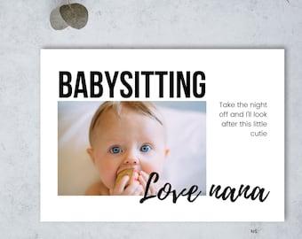 Editable Babysitting voucher, Babysitting gift voucher, Christmas Gift Voucher, Babysitter voucher, Free Babysitting,  Printable PDF