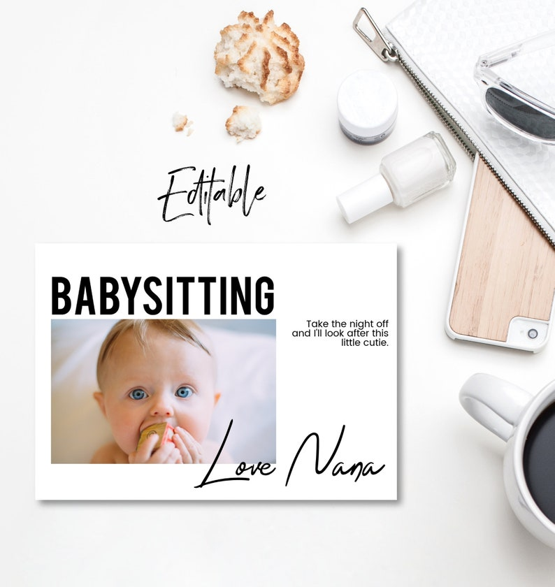 Editable Babysitting voucher Babysitting gift voucher image 0