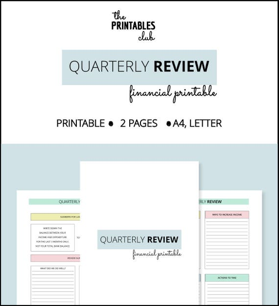 Quarterly Financial Review Printable Finance Planner