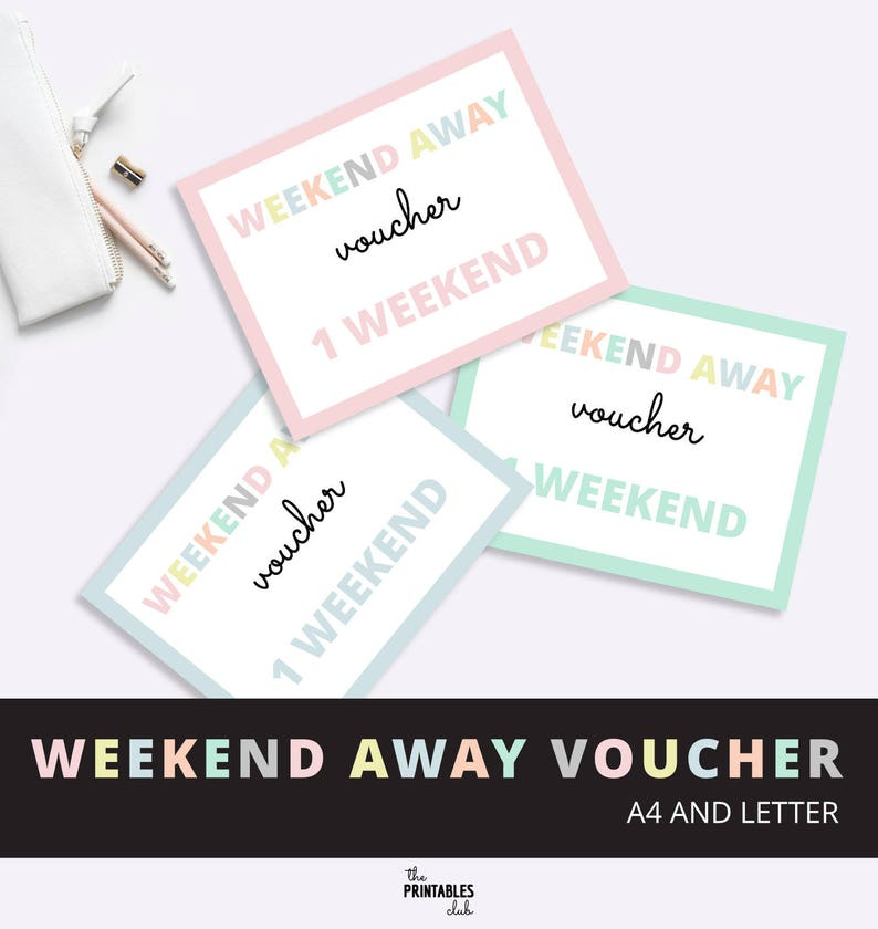 photo regarding Printable Vouches identified as Weekend Absent Reward Voucher, Passionate Weekend Absent Voucher, Valentines Present Voucher, Birthday Present Voucher, Previous Moment Reward Printable PDF