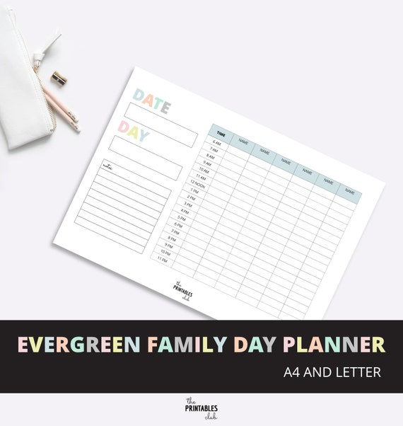 printable family day planner family organizer daily family etsy