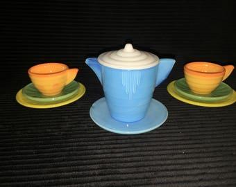 Retro 1930's Akro Agate childs tea set