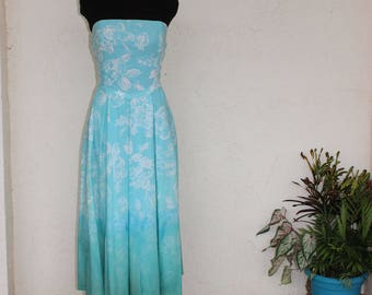 Blue Strapless Floral Dip- Dyed Fitted Dress with Pockets