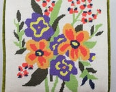 Embroidered Needlepoint Floral Pillow