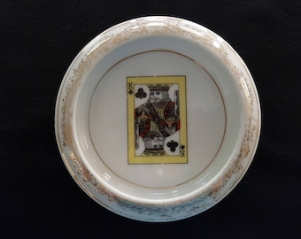 Vintage King of Clubs Porcelain Dish