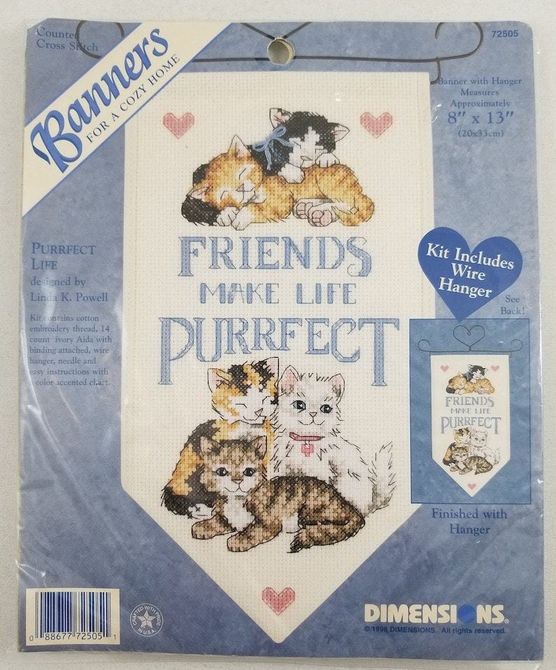 Dimensions Cross Stitch Banner Kit - Friends Make Life Purrfect
