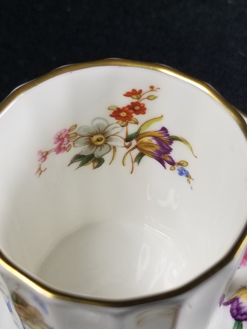 Royal Worcester Roanoke Demitasse Floral Cup and Saucer