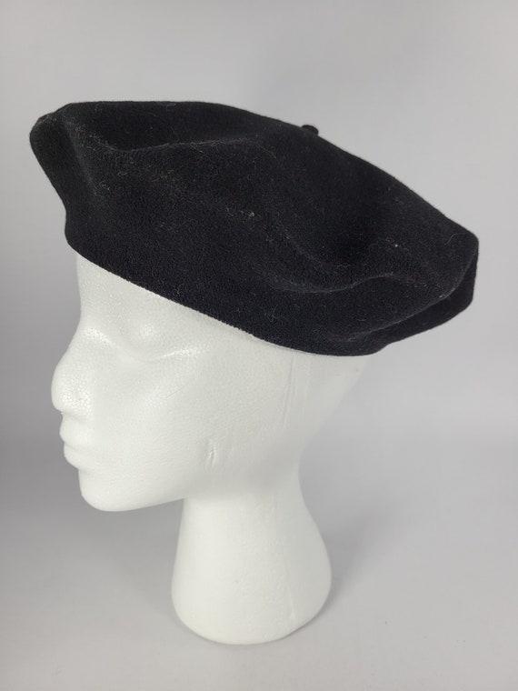 Vintage Black Wool Beret Tam Hat 1940's