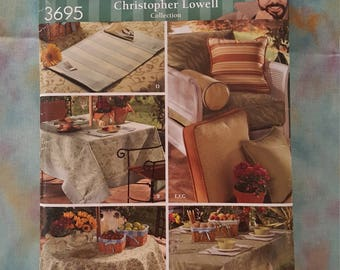 Simplicity 3695 Uncut Christopher Lowell Collection ~ Table Accessories, Pillows, Bolster, Place Mats