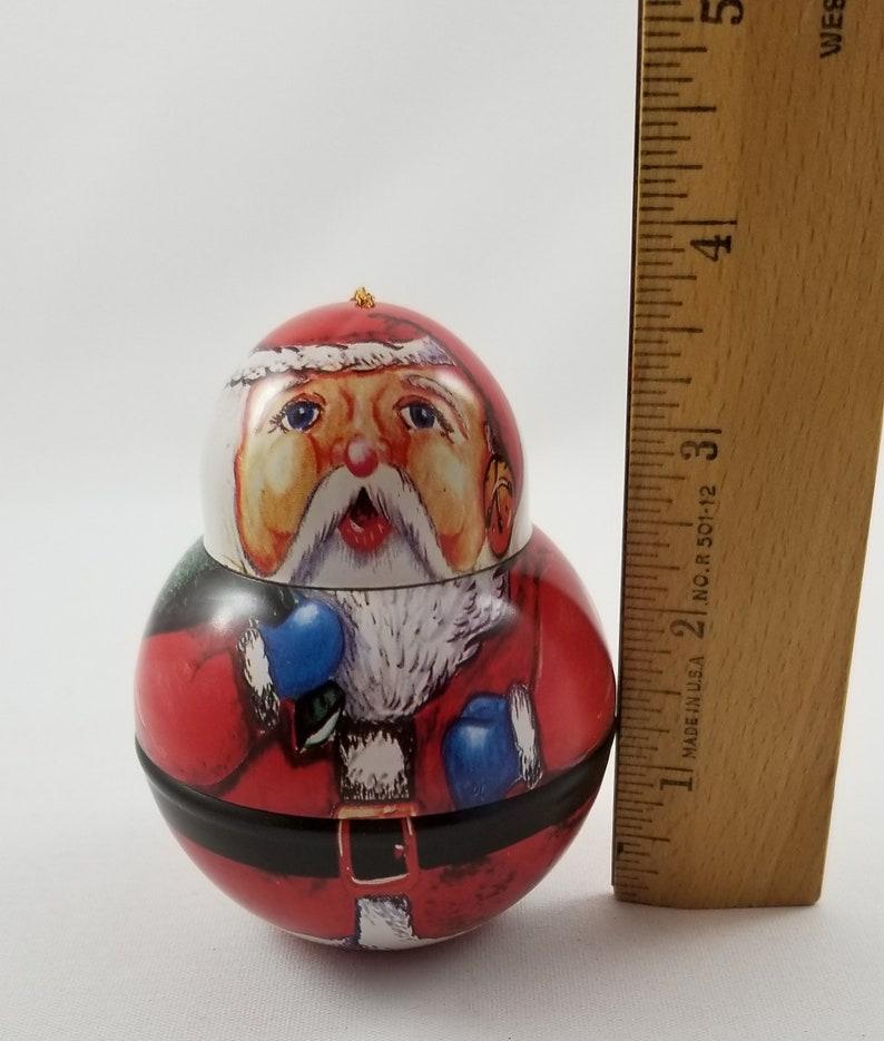 Lithograph Roly Poly Santa Claus Miniature Tin Ornament Christmas Winter Xmas Decor Vintage