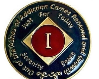 NA 14K Gold Plated 1 Year Recovery Clean Time Birthday Medallion Sealed With Epoxy For A Shiny Glossy Look, NA Coins | Simply Minimal™