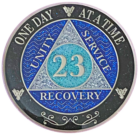 AA 23 Year Silver Color Plated Glitter Coin, Blue, Silver, Black Rainbow Glitter Alcoholics Anonymous Medallion