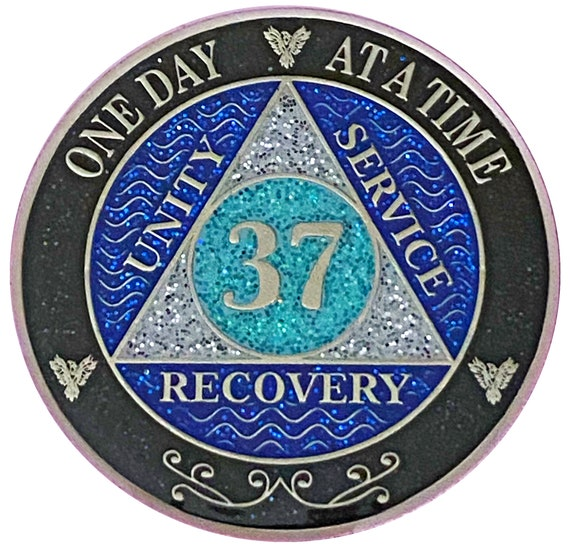 AA 37 Year Silver Color Plated Glitter Coin, Blue, Silver, Black Rainbow Glitter Alcoholics Anonymous Medallion