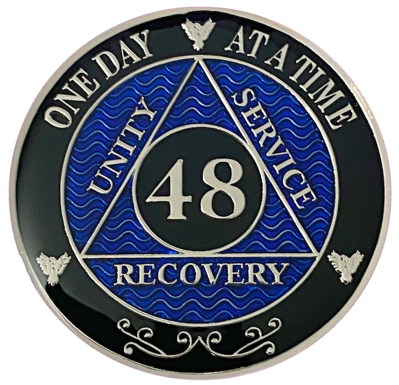 48 Year AA Coin Silver Color Plated-Medallion, Recovery Chip, 12 Step Token, Alcoholics anonymous coin