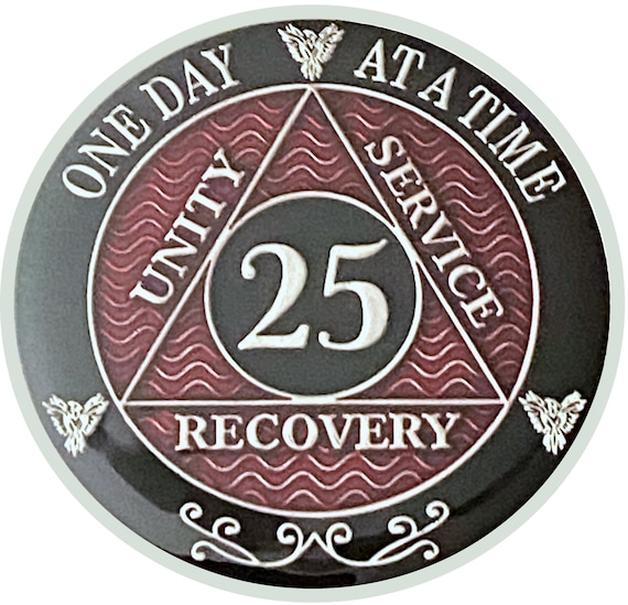 25 Year AA Coin Silver Color Plated Medallion, Recovery Chip, 12 Step Token, Alcoholics anonymous coin