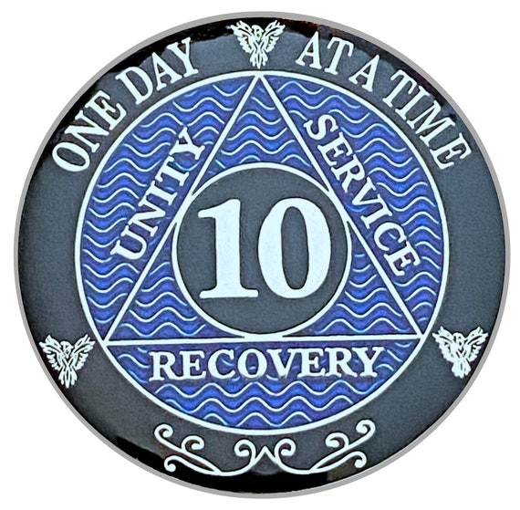 10 Year AA Coin Silver Color Plated Medallion, Recovery Chip, 12 Step Token, Alcoholics anonymous coin