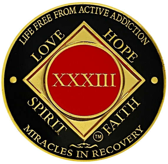 NA 33 Year Gold Color Plated Coin, Narcotics Anonymous Medallion