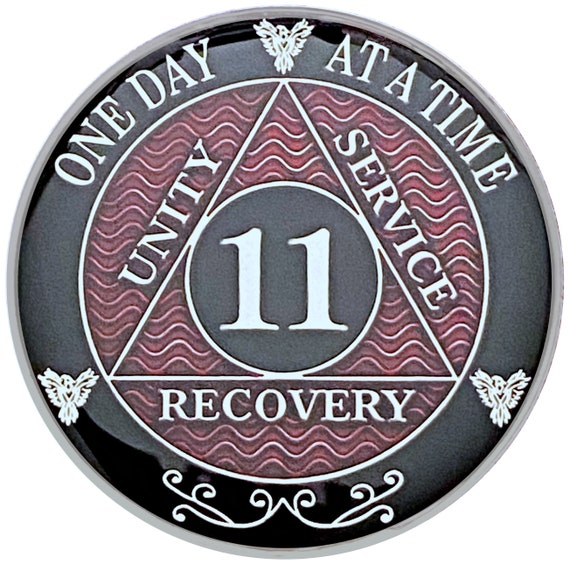 11 Year AA Coin Silver Color Plated Medallion, Recovery Chip, 12 Step Token, Alcoholics anonymous coin