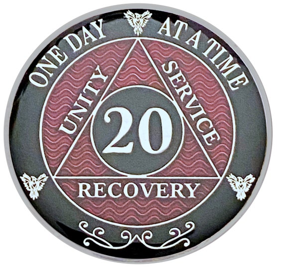 20 Year AA Coin Silver Color Plated Medallion, Recovery Chip, 12 Step Token, Alcoholics anonymous coin