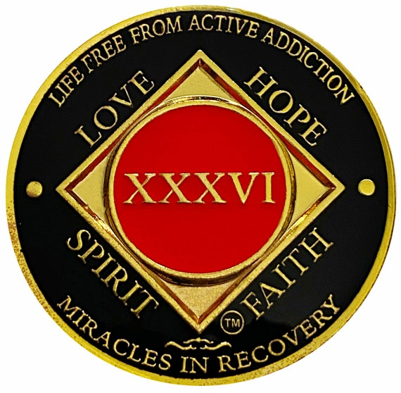 NA 36 Year Gold Color Plated Coin, Narcotics Anonymous Medallion