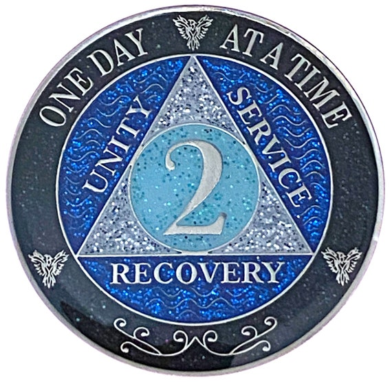 AA 2 Year Silver Color Plated Glitter Coin, Blue, Silver, Black Rainbow Glitter Alcoholics Anonymous Medallion