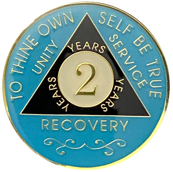 AA 2 Year Gold Color Plated Coin, Alcoholics Anonymous Medallion