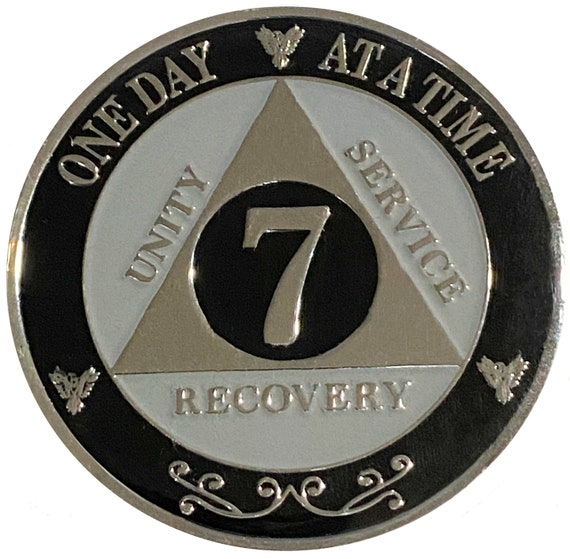 "AA XL 7 Year Silver Color Plated Coin, Large 45mm 1.75"" Alcoholics Anonymous Medallion"