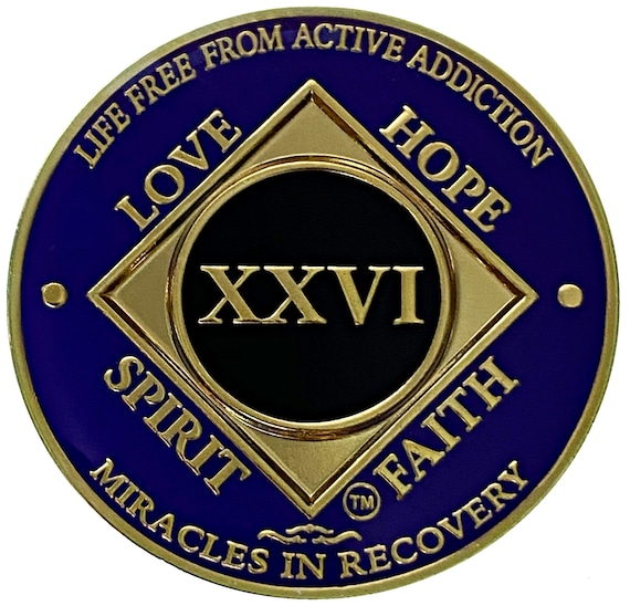 NA 26 Year Gold Color Plated-Medallion, Narcotics Anonymous Coin, Recovery Chip