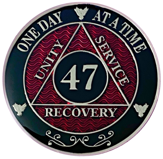 47 Year AA Coin Silver Color Plated-Medallion, Recovery Chip, 12 Step Token, Alcoholics anonymous coin