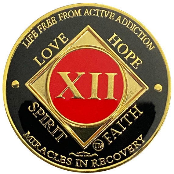 NA 12 Year Gold Color Plated-Medallion, Narcotics Anonymous Coin, Recovery Chip