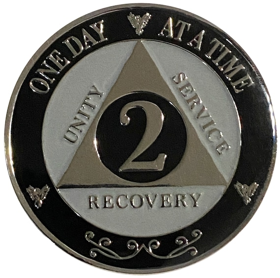 "AA XL 2 Year Silver Color Plated Coin, Large 45mm 1.75"" Alcoholics Anonymous Medallion"