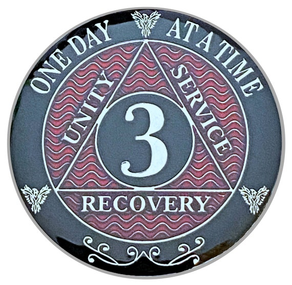 3 Year AA Coin Silver Color Plated-Medallion, Recovery Chip, 12 Step Token, Alcoholics anonymous coin