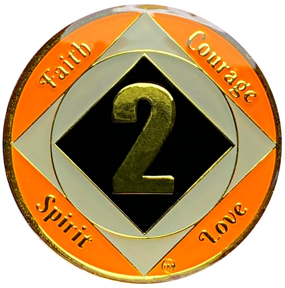 NA 2 Year Gold Color Plated Coin, Narcotics Anonymous Medallion