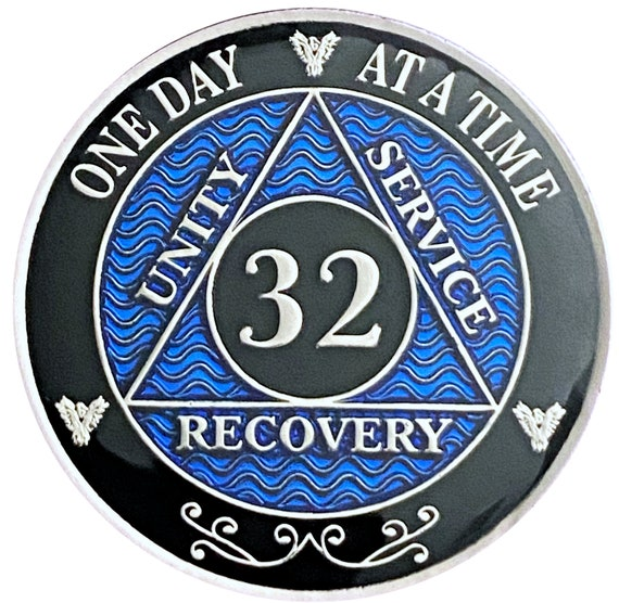 32 Year AA Coin Silver Color Plated-Medallion, Recovery Chip, 12 Step Token, Alcoholics Anonymous Coin