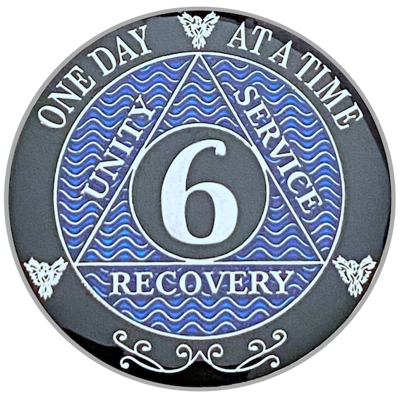 6 Year AA Coin Silver Color Plated-Medallion, Recovery Chip, 12 Step Token, Alcoholics anonymous coin